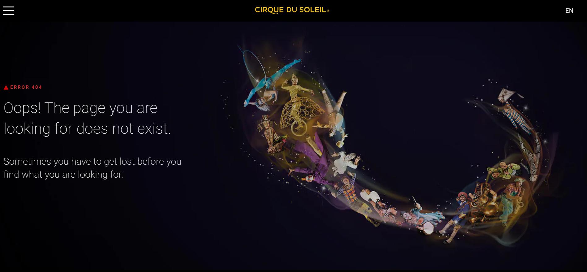 Error 404 Cirque du Soleil